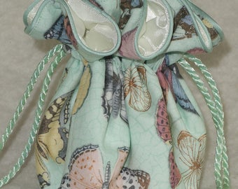 Flutter Jewelry Pouch in Butterfly on mint, Jewelry Travel Organizer, Jewerly Bag