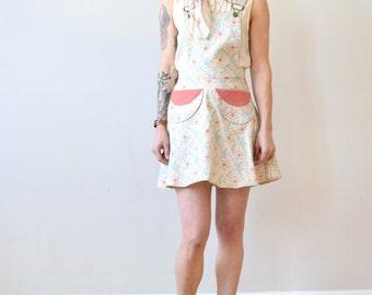 Pinafore, Floral pinafore jumper,  floral spring jumper, apron, apron dress, floral dress, short floral dress