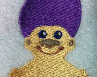 Adorable Troll Doll Embroidered Terrycloth Hand Towel - You choose Hair Color - FREE U.S. SHIPPING