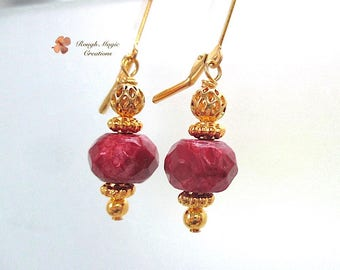 Elegant Ruby Red & Gold Earrings, Jasper Stone, Chunky Gemstone Dangles, Renaissance Style, Leverback Earwires, Semi Precious Gems E400