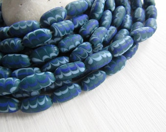 Blue glass beads, blue tube lampwork beads, opaque matte swirl designs,  boho ethnic style Indonesia 8mm x 21 to 24 mm long (6 beads) 6bb6-3