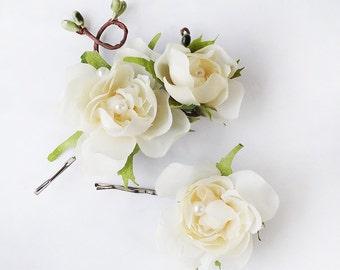 cream flower hair pins, bridal hair pins, hair pins wedding, flowers for hair, bridal hairpiece, hair flower clip, silk flower accessories
