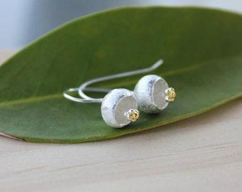 Flower earrings in Sterling Silver, wedding jewelry, handmade earrings, simple, wedding, bridesmaid jewelry, everyday, birthday, flower