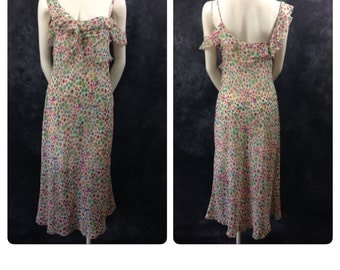 Vintage 1990's Moschino 1930's inspired gossamer weight floral silk slip dress with ruffle pink blue green purple