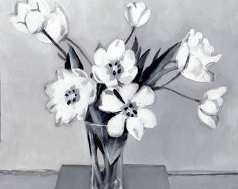 grayscale flower bouquet - original acrylic painting on mdf  - wall art- wall decor- red flowers -Still Life Painting- folk art