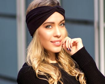 Vegan Headband Faux Suede Turban Headband Leather Hair Accessory Spring Fashion Ear Warmer Boho Chic Hippie Fashion Stretchy Soft Headband