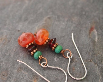 Turquoise, Garnet and Fire Agate Earrings