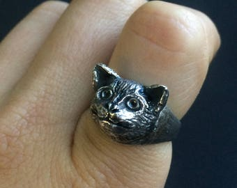 Cat Ring, Sterling Silver, Sculpted after my Cat, Sumi,  made by Jamie Spinello