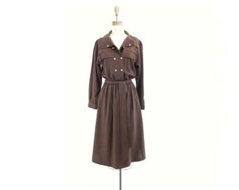 Vintage Wool Dress Brown Wool Dress Wool Midi Dress High End Made in Germany 80s Wool Crepe Dress 1980s Vintage Dress Wool Office Dress m
