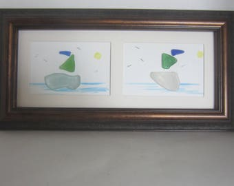 Sea Glass, Beach Glass , Hand Painted LargerTwo  Sail Boats Picture