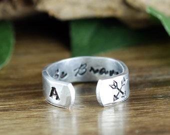Be Brave Ring, Arrow Ring, Secret Message Ring, Boho Ring, Inspirational Ring, Bohemian Ring, Personalized Ring, Personalized Cuff Ring