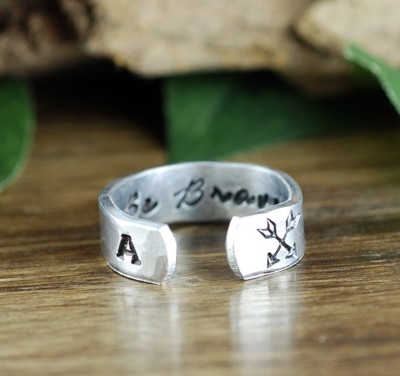 Be Brave Ring, Arrow Ring, Secret Message Ring, Boho Ring, Inspirational Ring, Bohemian Ring, Personalized Ring, Personalized Cuff Ring