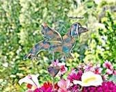 SOLD Dachshund Grave Marker Plant Stake / Metal Garden Art / Pet Memorial / Garden Copper Art / Angel Decor / Yard Art / Indoor Outdoor S