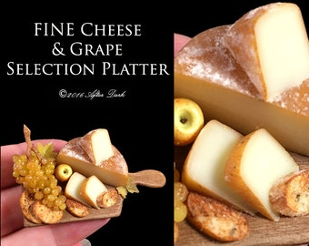 Fine Cheese & Grape Selection Platter - Walnut Board - Artisan fully Handmade Miniature Dollhouse Food in 12th scale.
