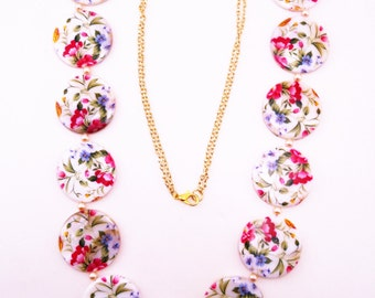 Shabby chic statement necklace. Floral necklace. White, magenta, mustard, sage, cornflower blue coin bead. Faux peach pearls. Long necklace.
