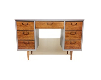 Vintage Mid Century Desk In Seal and Wood