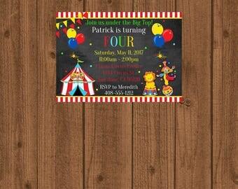 Circus Birthday Invitation, Circus Party Invitation, Circus 1st Birthday Invitation, Carnival Invitation, Big Top Invitation