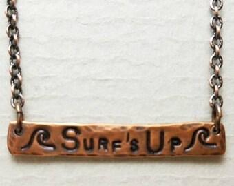 Surfs Up Hand Stamped Bar Necklace