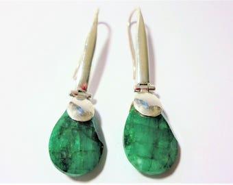 Emerald Earrings in Long Sterling Hook Contemporary Mounting Rough Cut Teardrop Emeralds in Hinged Sterling Earrings