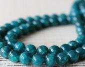 8mm Round Apatite Beads - Round Gemstone Mala Bead - Jewelry Making Supplies - Teal - Choose Length