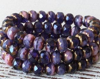 7x5mm Firepolished Rondelle Beads - Czech Glass Beads - Jewelry Making Supply - Amethyst Purple Pink Mix Bronze - 5x7mm CHOOSE AMOUNT