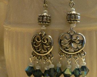 Blue earring, Chandelier earring, Dangle earring, swarovski crystals, victorian earring, crystal chandelier, blue chandelier, gift for women