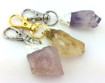 Raw Crystal Key Chain - Womens Boho Gifts Her -Womens Gifts Under 15 -Best Socking Stuffer For Women -Stocking Filler For Wife Keychain Clip