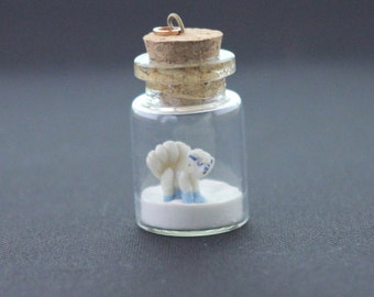 Pokemon Sun and Moon, Alolan Vulpix, Pokemon in Glass Bottle - White Fox Pokemon Charm, Pokemon Jewelry
