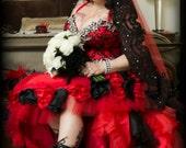 Vampire Red and Black Gothic Wedding Dress with Hand Sewn Rhinestones