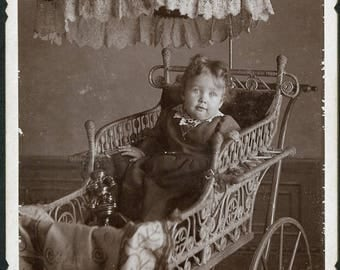 Toddler in Wonderul Ornate BABY CARRIAGE with a PARASOL Cabinet Card Photo Haigler Nebraska circa 1890s