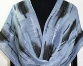 Silver Grey, Black Silk-Wool Shawl SILVER WINTER. Warm Silk-Wool Scarf by Silk Scarves Colorado. Large 14x68. Bridesmaid Gift, Mother Gift