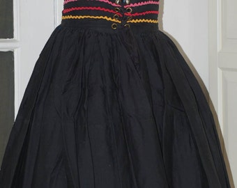 "50s Full Skirt, Ric Rac Trim, High Waist, Folkloric, Cotton, Laced Waist, Size M, 26"" Waist"