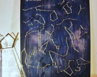 Made upon order ~ Artisanal Northern Hemisphere Constellation Map ~ String art on wood