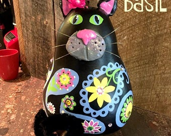 cat, black cat, paisley, funny, gourd, gourd art, hand painted, kitty cat, decoration