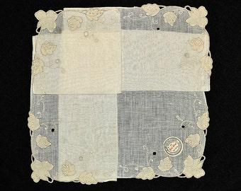 MADEIRA WEDDING HANKIE Ivory Irish Linen Embroidery Applique Cut Work Corded & Hand Rolled Hem York Street Label Bridal Excellent Condition
