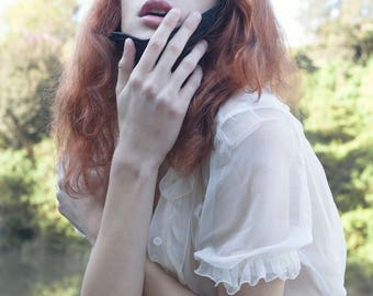 Custom Classic Lolita Chiffon blouse, Kodona, Gothic Lolita Shirt, Steampunk, Wedding, Custom size Color