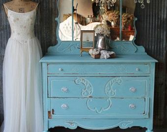 T U R Q U O I S E, Antique Tiara Dresser, French Shabby Chic