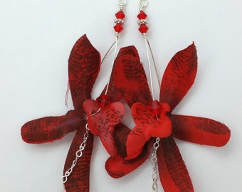 Red Orchid Flower Earrings, Floral Earrings Flower Jewelry Statement Jewelry Tropical Flower Red Earrings Hawaiian Flower Hawaii Jewelry 012