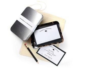 """NEW! 24 """"Wishes for the Graduate"""" Cards with Keepsake Tin in Muslin Bag// Grad Party Activity / Graduation Gift"""