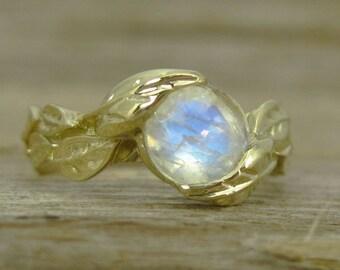 Rainbow Moonstone Leaves Engagement Ring, Leaf Ring With Moonstone, Yellow Gold Moonstone Leaf Ring, Moonstone Engagement Ring, Nature Ring