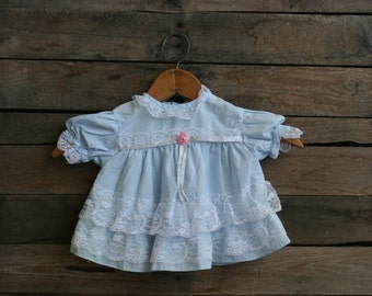 Vintage Children's Blue & White Lace Dress Size 12 Months