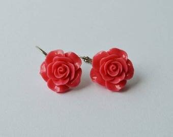 Salmon Rose Flower Earrings - Shabby Style - Lucite Flower Earrings - Valentine's Day Present
