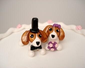 Beagle Wedding Cake Topper, Bride and Groom, Dog Wedding Decoration, Cake Decoration, Beagle Cake Topper, Pet Wedding Topper, Beagle Wedding