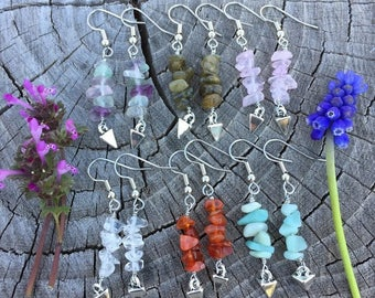 Gemstone Stacks and Silver Spikes . Earrings