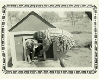 "Vintage Photo ""Testing the Doghouse"" Funny Humor Silly Goofy Girl Friends Women Americana Snapshot Old Black & White Photograph - 104"