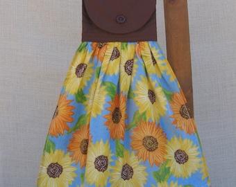 Sunflower Hanging Kitchen Tea Towel, Yellow Orange Sunflowers, Summer Sunflower Towel, Kitchen Decor