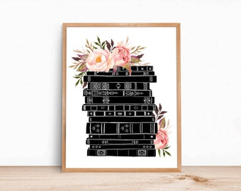Books and Flowers Black Pink Watercolor Botanical / 14 x11 print