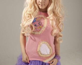 Kawaii Aristocat Marie Cat Kitty+Bow Brooch Decora Polkadot Heart T-shirt Top