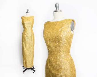 Vintage 1960s Dress - Gold Eyelash Lame Lurex Wiggle Hourglass Bombshell Gown 60s - Small