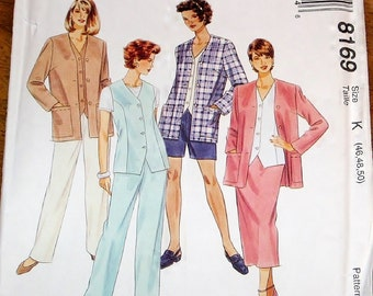 Easy Sewing Pattern McCall's 8169 Vest Jacket, Pull on Pants Shorts Skirt Womens Misses Plus Size 46 48 50 Bust 50 52 54 Uncut Factory Folds
